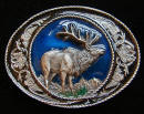 Colored Elk Belt Buckle