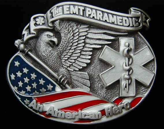 "I got both of these tattoos at the same time. I collaborated with my artist. 4203E The EMT Paramedic An American Hero 3 3/8"" by 2 3/4"""