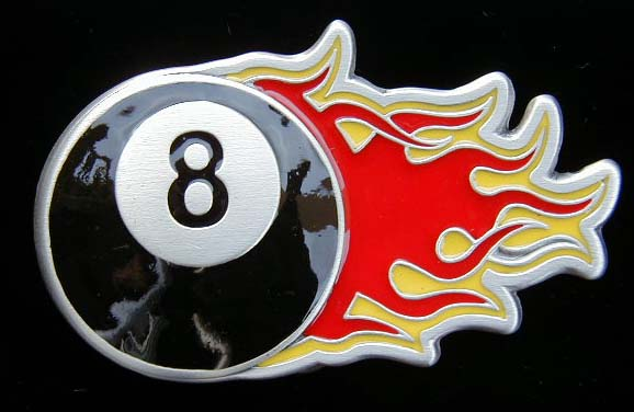 "4564E Flaming 8 Ball 3 5/8"" by 2"""
