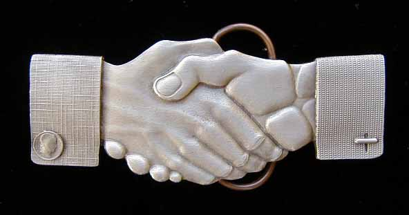 "E-49 Friendship Shaking Hands 4 1/8"" by 1 3/4"""