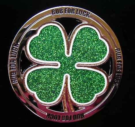 """FC-1 Rub For Luck 4 Leaf Clover (Chrome) 3 3/8"""" in Diameter"""
