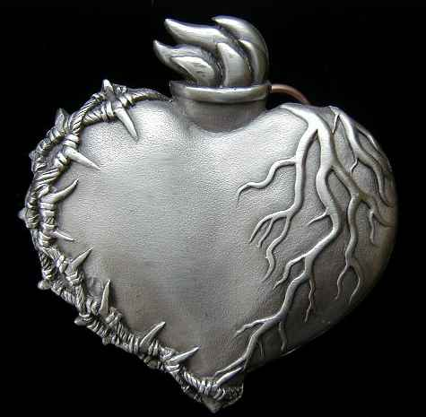 "US-261 Flaming Heart W/Barbed Wire 3 1/4"" by 3 1/4"""