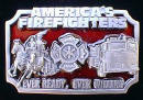 Colored America's Firefighters Belt Buckle