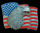 Colored Eagle and Flag Belt Buckle
